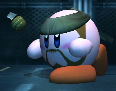 Kirby as Solid Snake Throwing Grenade