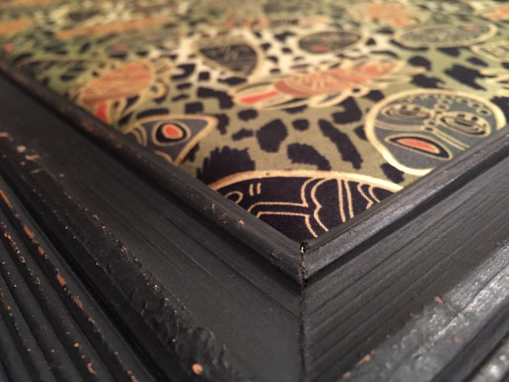 Sheffield Home Corkboard 10x18 with Custom Fabric - Corner Detail